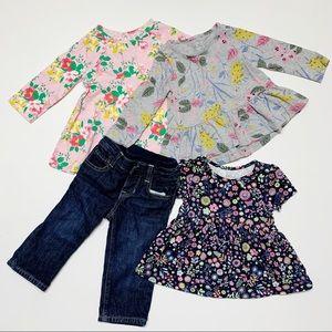 BABY GAP LOT floral long sleeve dresses & pants